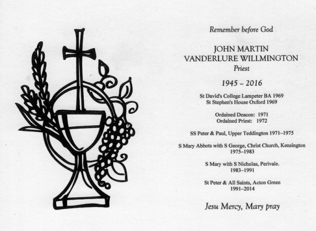 The Revd John Willmington 1945 - 2016 image