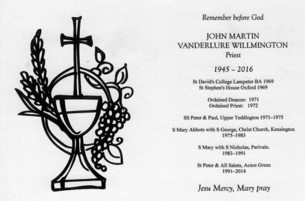 The Revd John Willmington 1945 - 2016 image