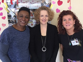 Carrie (interim CEO in centre) with Day Care Assistants Carolyn (left) and Jan (right)